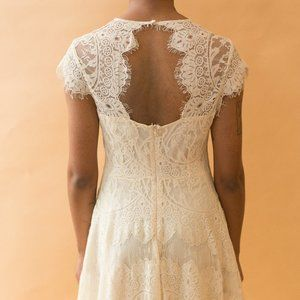 lace cut out back dress